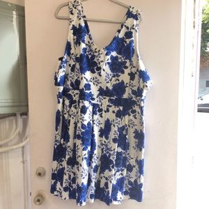 White and blue flowered dress